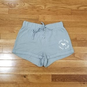 Pink gray lace-up front comfy shorts S